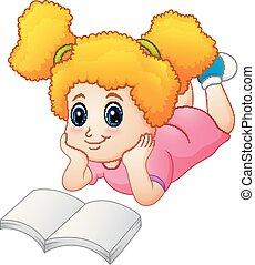 很少, 地板, 放置, 書, 女孩讀物