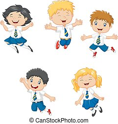 很少, 孩子, 微笑, 跳躍