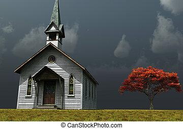 很少, 教堂, prarie