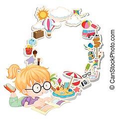 很少, 書, 閱讀, 女孩