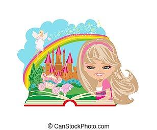 很少, 書, 魔術, 閱讀, 女孩