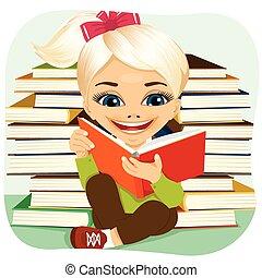 很少, 有趣味, 書, 白膚金髮, 閱讀, 女孩