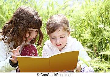 很少, 釘, 花園, 女孩, 姐妹, 拖, 書, 閱讀