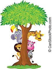 後面, 樹, 卡通, 動物, 隱藏