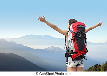 徒步旅行者, 山, 婦女, 愉快