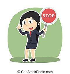 從事工商業的女性, 停止, 藏品, 簽署