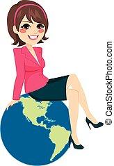 從事工商業的女性, 坐, 全球