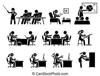 從事工商業的女性, 工作, 辦公室。