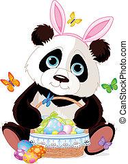 復活節, 熊貓, 籃子, 漂亮