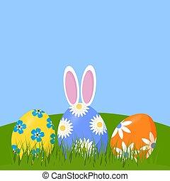 復活節, 陽光普照, 草坪, bunny, 後面, 蛋, ears., 躺, 插圖, 天, 矢量