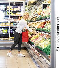 微笑的婦女, 購買, 卷心菜, 超級市場