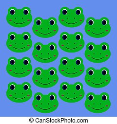 微笑, 孩子, 設計, 綠色, 青蛙