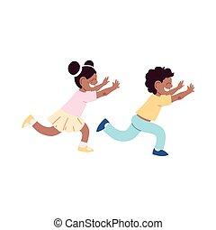 微笑, 孩子, 跑, 很少, 卡通