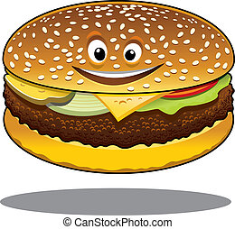 微笑, 牛肉餅加乳酪, 卡通, 愉快