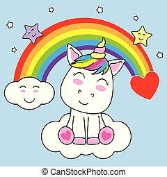 微笑, 獨角獸, 雲, 坐