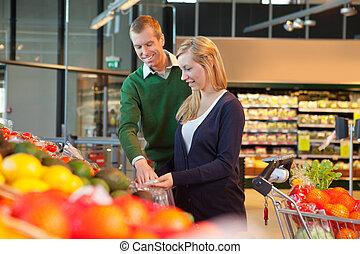 微笑, 購物, 夫婦, 商店