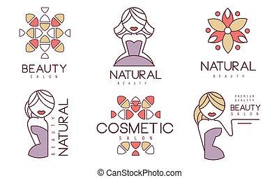 徽章, 化妝品, 美麗, 矢量, 自然, 插圖, 沙龍, 集合, 標籤