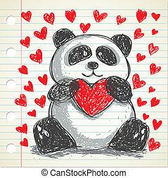 心不在焉地亂寫亂畫, 熊貓, 心