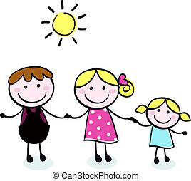 心不在焉地亂寫亂畫, 父親, -, 孤立, 家庭, 孩子, 母親, 白色
