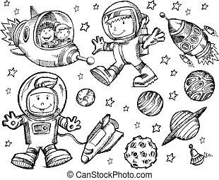 心不在焉地亂寫亂畫, 略述, 矢量, 外太空