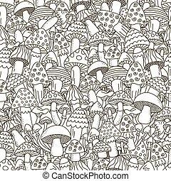 心不在焉地亂寫亂畫, 蘑菇, 黑色, 白色 背景, seamless, pattern.