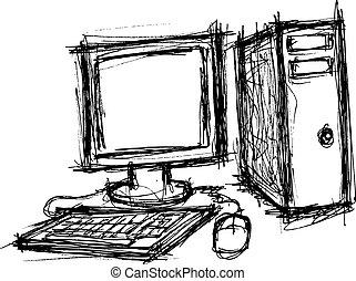 心不在焉地亂寫亂畫, 風格, 電腦, grunge