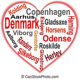 心, 丹麥, 大, 詞, 城市, 雲