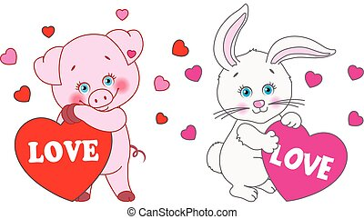 心, 兔子, 情人是, 豬, day., 矢量, 字符, 藏品