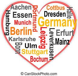 心, 大, 德國, 詞, 城市, 雲