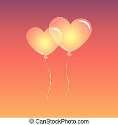 心, 天空, 气球, 成形