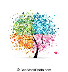 心, 季節, -, 夏天, 你, 樹, 四, 秋天, 藝術, winter., 春天, 做, 設計
