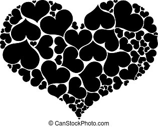 心, 形成, 被隔离, 形狀, 背景。, 大, 白色