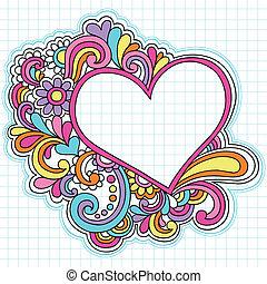 心, 框架, 矢量, doodles, 筆記本