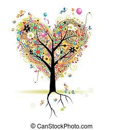 心, 樹, 假期, 形狀, 气球, 愉快
