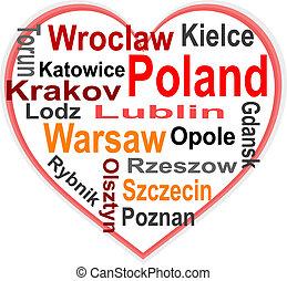 心, 波蘭, 大, 詞, 城市, 雲