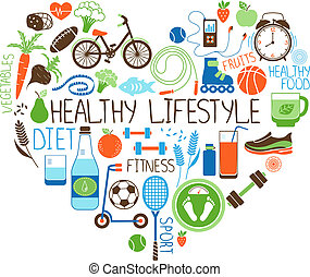 心, 生活方式, 飲食, 簽署, 健身, 健康