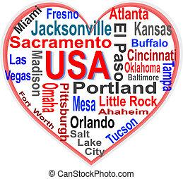 心, 美國, 大, 美國人, 詞, 城市, 雲