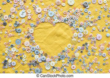 心, 鮮艷, 空間, 頂部, 成形, 黃色, 按鈕, 布, 背景, 模仿, 框架, 看法