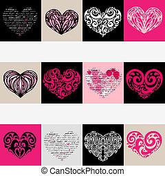 心, set., love., 插圖, 背景。, 矢量
