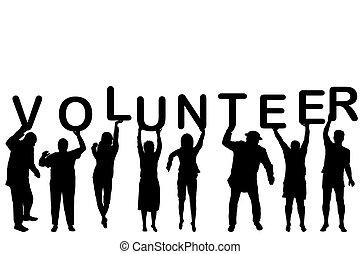 志願者, 黑色半面畫像, 概念, 人們