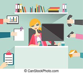 忙, 她, 管理, 工作, relax., 婦女, 微笑, 秘書