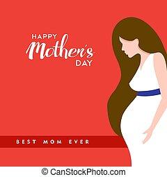 怀孕, 引用, 母親, 插圖, 媽媽, 天, 愉快