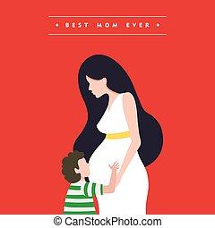 怀孕, 母親, 插圖, 媽媽, 天, 卡片, 愉快