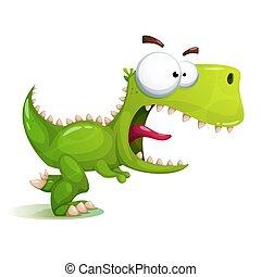 恐龍, 瘋狂, 有趣, 漂亮, illustration.