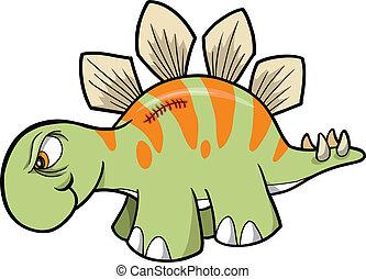 恐龍, stegosaurus, 矢量, 堅韌