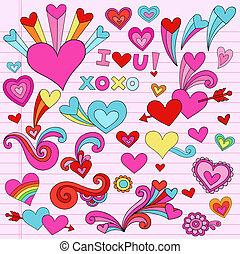 情人節, 心, 矢量, 愛, doodles