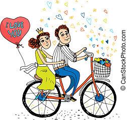 情人, 自行車, 二, 年輕, 匯接, 騎馬