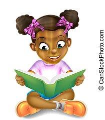 惊人, 女孩, 很少, 卡通, 讀書