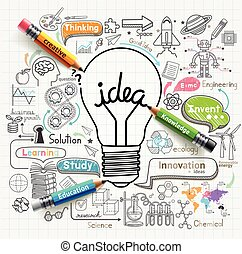 想法, 燈泡, doodles, 圖象, set., 概念