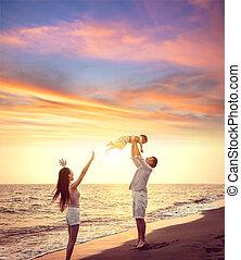 愉快, 傍晚, 玩, 家庭, 海灘